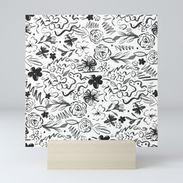 Stylish abstract brush strokes and floral doodles design Mini Art Print
