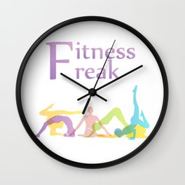Fitness freak with people doing yoga Wall Clock