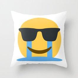 Sob Sunglasses Emoji Throw Pillow
