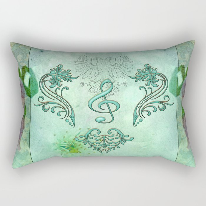 Music, decorative clef with floral elements Rectangular Pillow