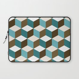 Cubes Pattern Teals Browns Cream White Laptop Sleeve
