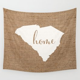 South Carolina is Home - White on Burlap Wall Tapestry