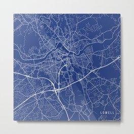 Lowell Map,USA - Blue Metal Print