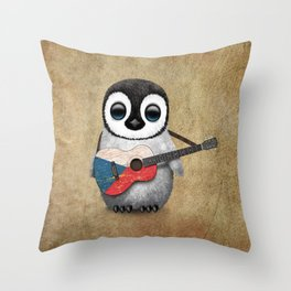 Baby Penguin Playing Czech Flag Acoustic Guitar Throw Pillow