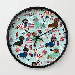 Dachshund july 4th patriotic dog breed pattern doxie dachsie lovers america Wall Clock