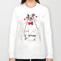 chemistry Long Sleeve T-shirts featuring Chemistry Cat by MAKE ME SOME ART