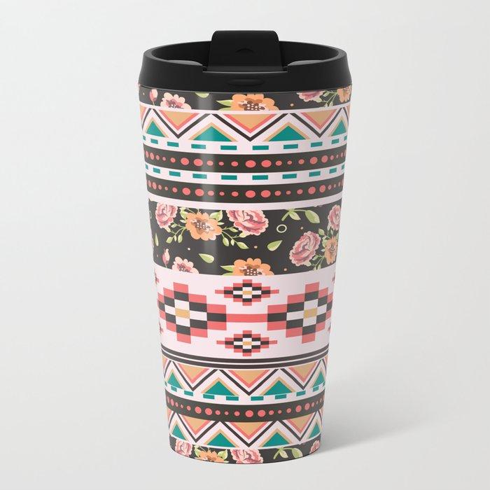 Floral Aztec Tribals Metal Travel Mug