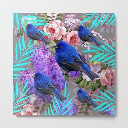 Spring  Blue  Birds Garden Floral Pattern Metal Print