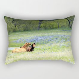 Horses & Bluebonnets Rectangular Pillow