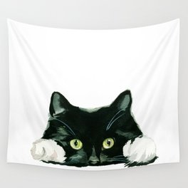 Black cat watching at you Wall Tapestry