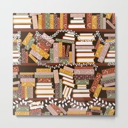 Bookshelf with Christmas Lights Pattern Metal Print