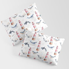 Sea Voyage Whales and Lighthouses Pattern Pillow Sham