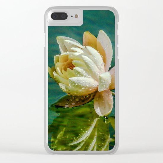 Water Lily after rain Clear iPhone Case