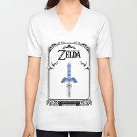 the legend of zelda V-neck T-shirts featuring Zelda legend - Sword by Art & Be