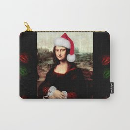 Mona Lisa Wearing a Santa Hat Carry-All Pouch
