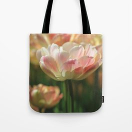 Colorful Tulips in Coral,Yellow and Green Tote Bag