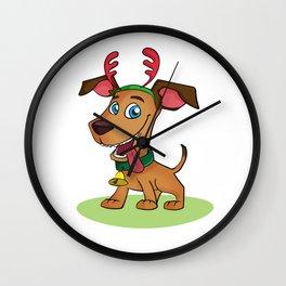 Puppy Dressed as Reindeer Wall Clock