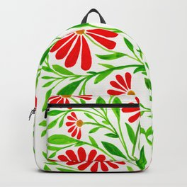 Watercolor Leaves and Petals Backpack