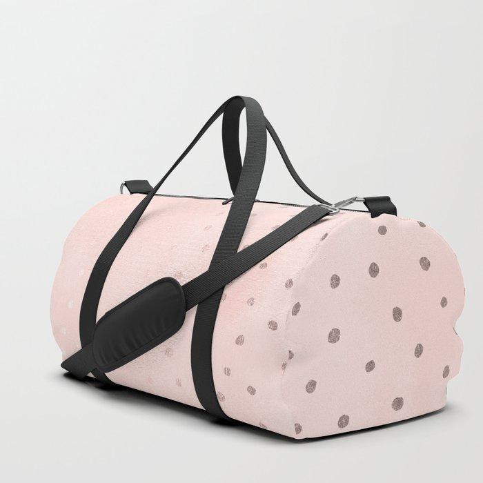 Rose Gold Pastel Pink Foil Paint Line Dots XXIII Duffle Bag