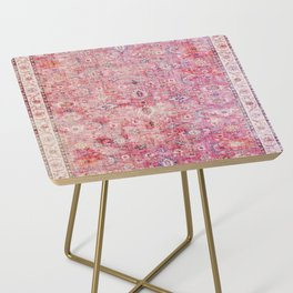N45 - Pink Vintage Traditional Moroccan Boho & Farmhouse Style Artwork. Side Table