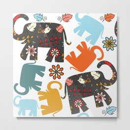 Elephants pattern #4SD Metal Print