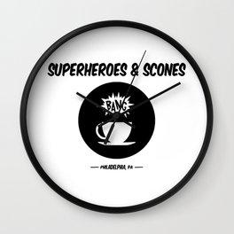 Superheroes and Scones Wall Clock