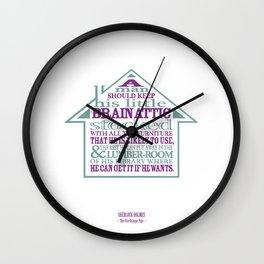 Sherlock Holmes novel quote – brain attic Wall Clock