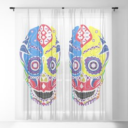 skull in candy pattern with death smile ecopop Sheer Curtain