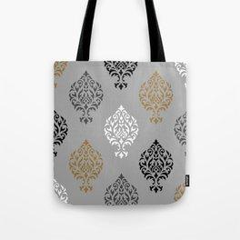 Orna Damask Ptn BW Grays Gold Tote Bag