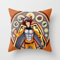 digimon Throw Pillows featuring Digimon Cards: Tai by Dralamy