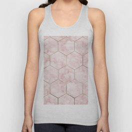 Cloudy pink marble hexagons Unisex Tank Top