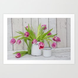 pink spring tulip still life country style Art Print