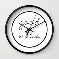 good vibes Wall Clocks featuring Good Vibes by Efty