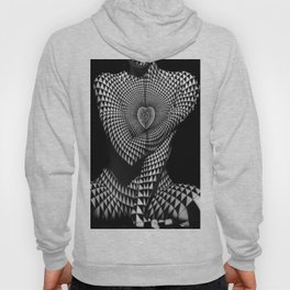 0622-JAL Heart Shape Pattern on Breasts and Nude Body Abstracted by Optical Patten Hoody