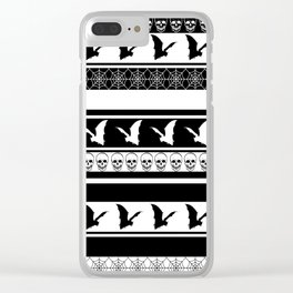 Halloween on Christmas - Black and White Clear iPhone Case