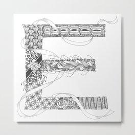 """Zenletter """"E"""" Metal Print"""