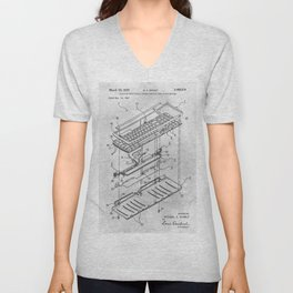 Electrical keyboard Unisex V-Neck