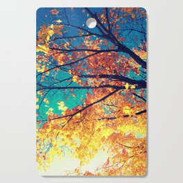 AutuMN Golden Leaves Teal Sky Cutting Board