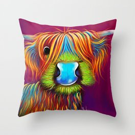 HiGHLaND CoW PRiNT SCoTTiSH ' STaNLeY THe TaRTaN Coo ' BY SHiRLeY MacARTHuR Throw Pillow