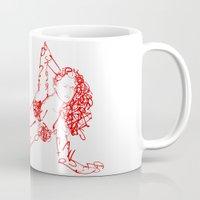 font Mugs featuring Font woman by erkki