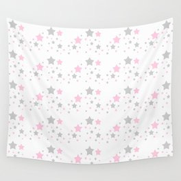 Pink Grey Gray Stars Wall Tapestry