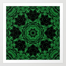 Green and Black Kaleidoscope 3 Art Print