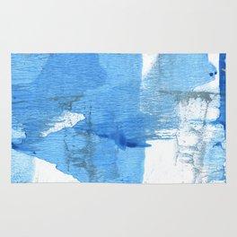 Corn flower blue hand-drawn wash drawing paper Rug