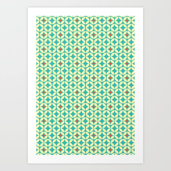 Repeated Retro - turquoise Art Print
