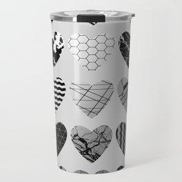 Metallic Love - Hexagon, stripes, triangles, geometric, marble, paint splat hearts! Travel Mug