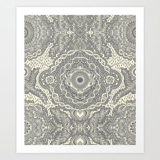 Rain in the Garden - grey and cream Art Print