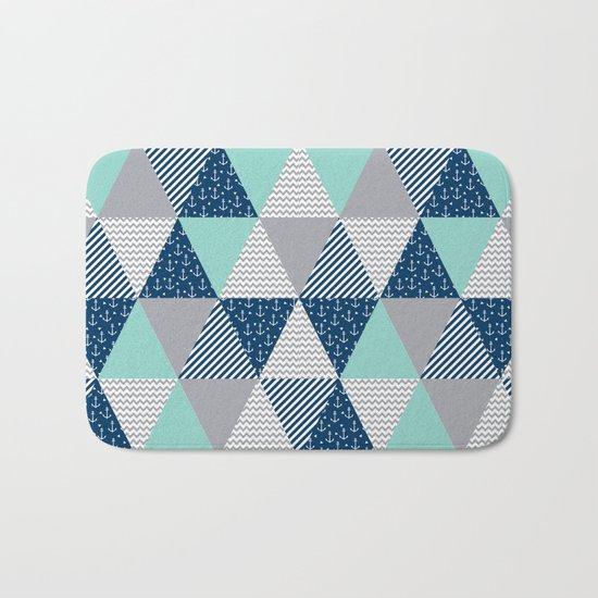 Triangle quilt pattern navy grey and white minimal modern basic nursery Bath Mat