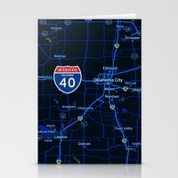 oklahoma Stationery Cards featuring oklahoma map by Larsson Stevensem