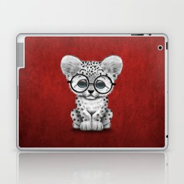 Cute Snow Leopard Cub Wearing Glasses on Deep Red Laptop & iPad Skin