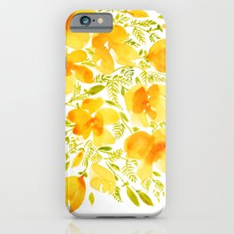 Watercolor California poppies (Quad set, #4) iPhone Case
